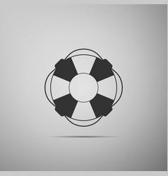 lifebuoy icon on grey background lifebelt symbol vector image