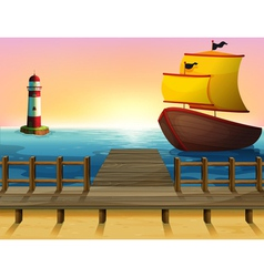 A sunset view of the port with a wooden boat vector