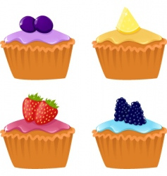 berry cupcakes vector image vector image