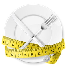 crossed spoon and fork plate Diet metr 03 vector image vector image