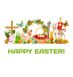 Easter holiday banner for greeting card design vector