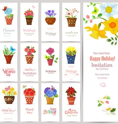 romantic collection of invitation cards with vector image