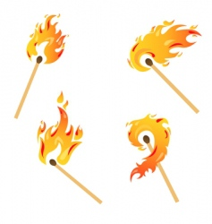set of flames vector image