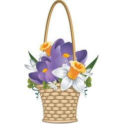 basket flowers vector image vector image