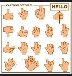 cartoon gestures showed by human hands vector image vector image