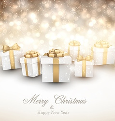 Golden winter background with christmas gifts vector image