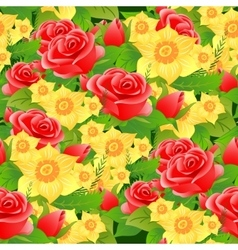 Seamless floral background of roses daffodils and vector image