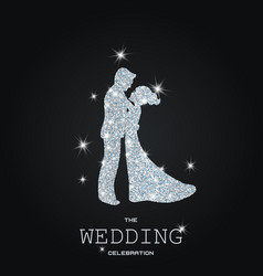 silhouette of wedding couple with glitters vector image vector image