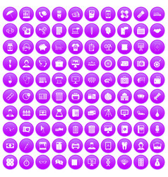 100 department icons set purple vector