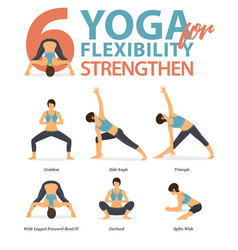 6 yoga poses for workout in flexibility strengthen vector
