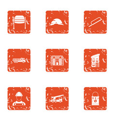 Advocacy icons set grunge style vector