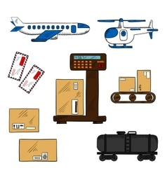 Air and rail freight service elements vector image