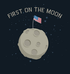 American flag stands on on the moon vector