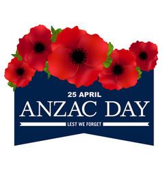 Anzac day banner poppy flower vector