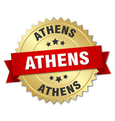 Athens round golden badge with red ribbon vector
