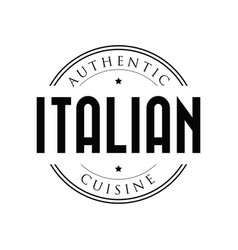 authentic italian cuisine stamp vintage vector image