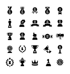 awards and trophy icon set in flat style vector image