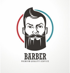barber shop logo design template vector image