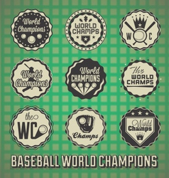 Baseball world champions labels and icons vector