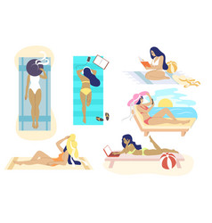 beach girls enjoying summer vacation flat vector image