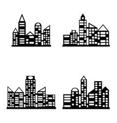black city icons set vector image
