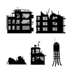 black silhouette of broken city vector image