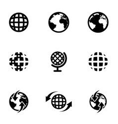 Black world map icon set vector