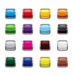 Blank square buttons icons set cartoon style vector