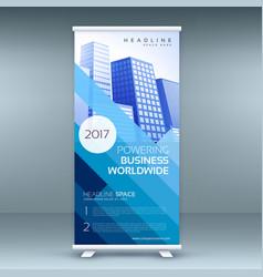 blue elegant roll up banner template vector image