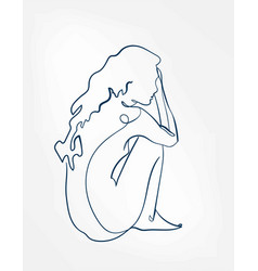 Body girl line art single line isolated abstract vector