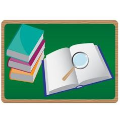 books and magnifying glass vector image