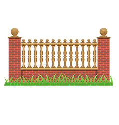 Brick fence decorated with balusters vector