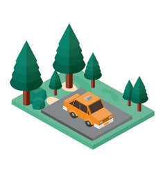 car parking and trees scene isometric icon vector image