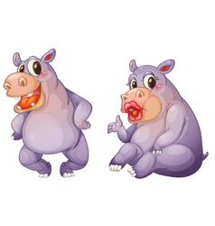 Cartoon female hippos vector