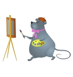 Cartoon rat artist vector image