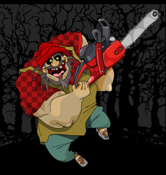 Cartoon terrible and cheerful man with a chainsaw vector