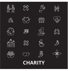 charity editable line icons set on black vector image