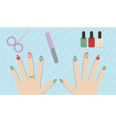 Christmas manicure gel polish vector