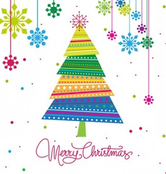 Christmas tree with ornaments xmas card vector
