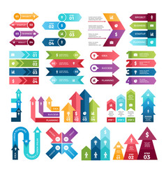 colored arrows for design projects of infographics vector image