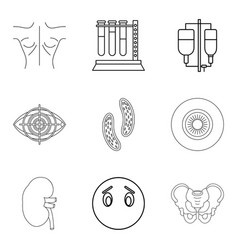 Curer icons set outline style vector