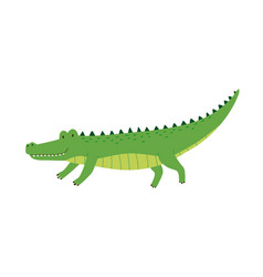 Cute friendly green crocodile with raised tail vector