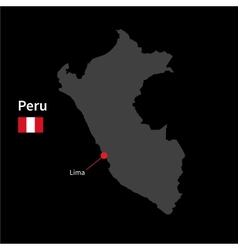 Detailed map of Peru and capital city Lima with vector