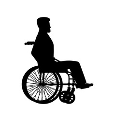 Disabled wheelchair silhouette Man sits in vector