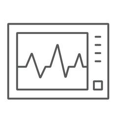 Ecg machine thin line icon medicine cardiology vector