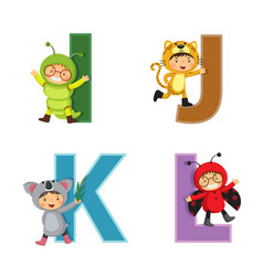 English alphabet with kids in animal costume i-l vector