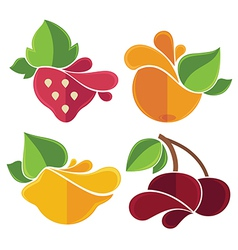 Flat fruits emblems vector