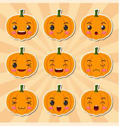 funny cartoon halloween pumpkin sticker icons vector image