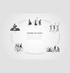 genres music - jazz dance rock edm rock n vector image