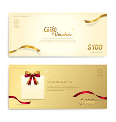 gold glitter gift voucher certificate coupon for vector image